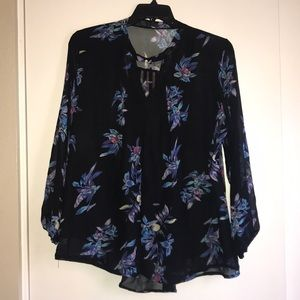 Tops - Black Floral Polyester Long Sleeve Blouse, XXL